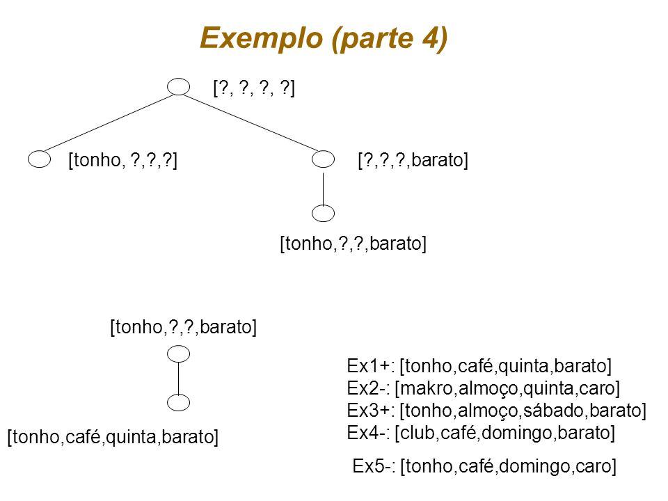 Exemplo (parte 4) [tonho,café,quinta,barato] [ , , ,barato]